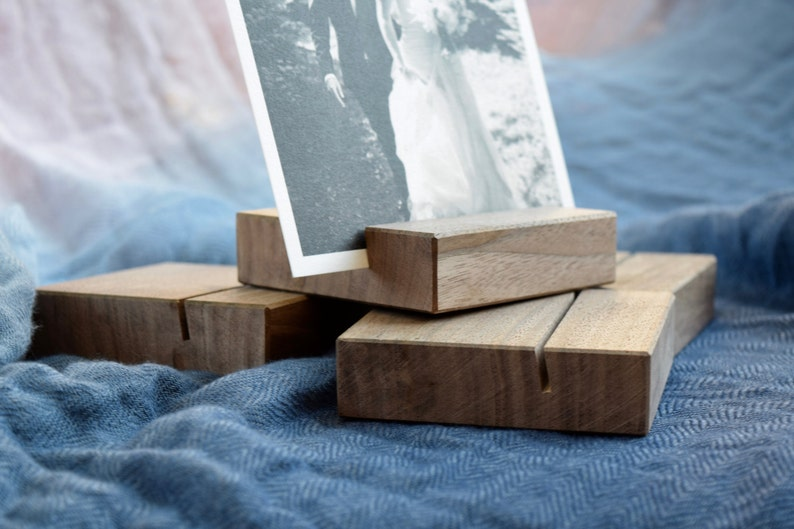 Walnut Wood Photo Stand Dark Wood Picture Holder Wooden Photo Display Photograph Display Stand Postcard stand holder Card Stand