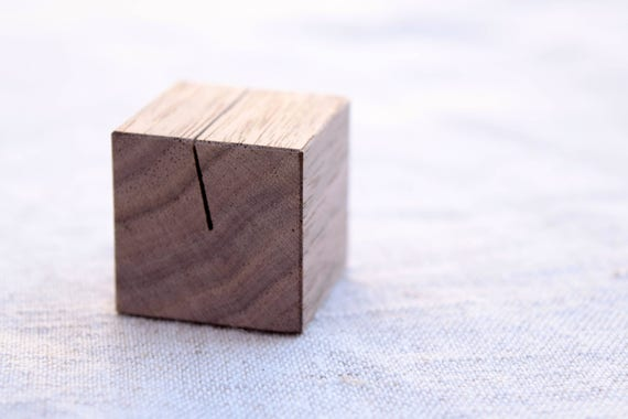 single walnut wood place card holder small photo stand etsy