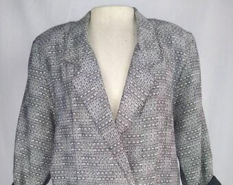 Vintage 80s Power Blazer, Pretense brand, Black and White weave, Silvery