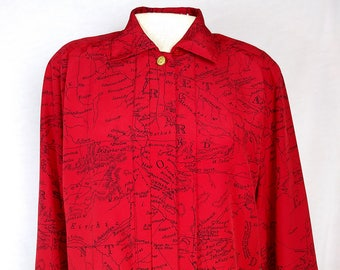 Vintage button down shirt, Red with fantastic map, Jones New York