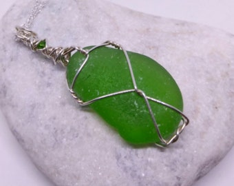 Green Lake Erie Sea Glass on Sterling Silver Chain