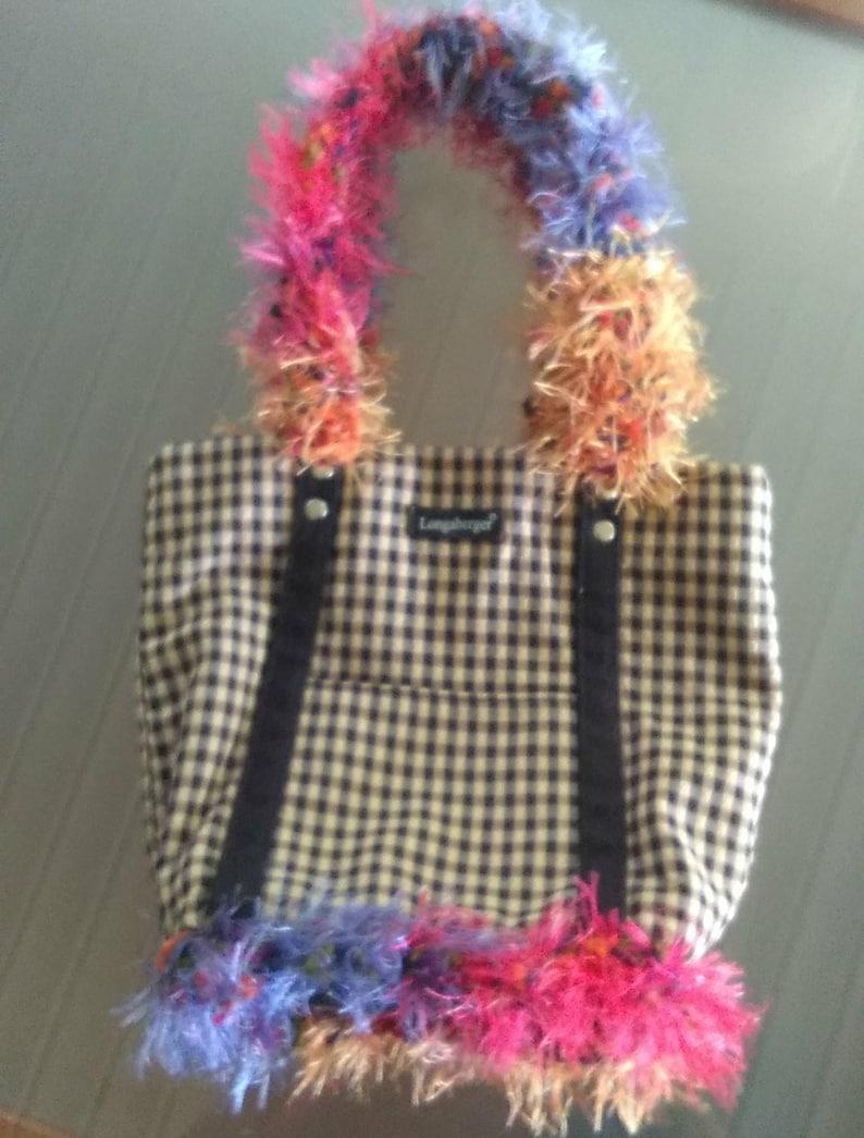 Unique OOAK Longaberger Tote Purse Bag Soft Frilly Eyelash Fabric on Original Check Design