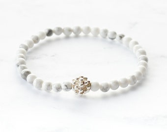 Delicate White Howlite Stretch Bracelet with Sterling Silver Accent