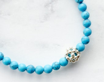 Delicate Turquoise Stretch Bracelet with Sterling Silver Accent