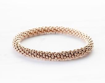Medium Bead Rose Gold Filled Crochet Bracelet