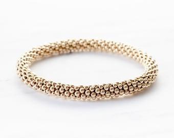 Medium Bead Gold Filled Crochet Bracelet
