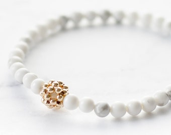 Delicate White Howlite Stretch Bracelet with Gold Filled Accent