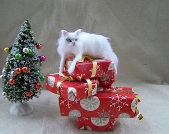 Ooak Dollhouse Miniature White Fluffy Cat - Those presents are mine - by Malga