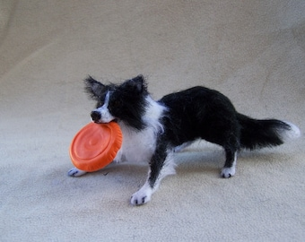 MADE to ORDER ooak  Dollhouse Miniature Border Collie dog playing frisbee by Malga