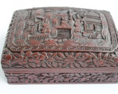 Antique XIX c Chinese Carved Cinnabar Lacquer Box Qing Dynasty signed Qianlong mark is set in a rectangular cartouche.