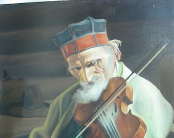 Vintage 1946 Oil painting on masonite board portrait Violinist playing violin with Folk hat. Estonian artist A.Lillimäg