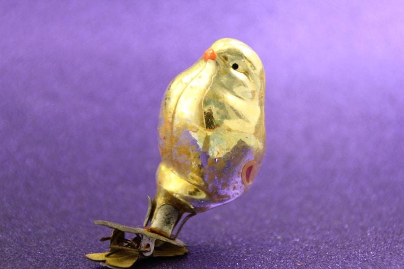 Antique Christmas Glass Ornament Chick Chicken Bird Clip Soviet Silver Vintage Tree Decoration Ornaments