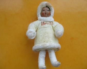 Rare 1930s  Eskimo Antique Christmas Spun Cotton Ornament  Soviet Decoration Guide-Catalog Christmas Ornaments