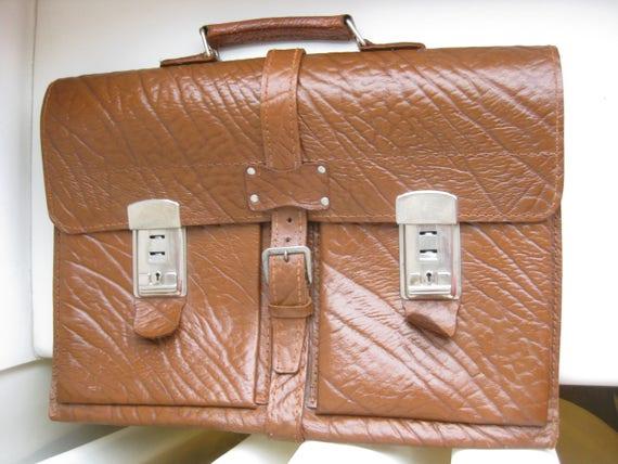 1970s Vintage German   Brand Brown Leather Briefca