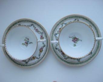 Antique 1918 Set Two Limoges porcelain Tea Cups  two handles and Saucers Tressemann & Vogt