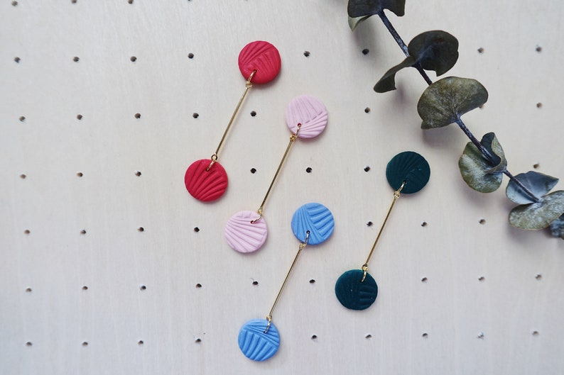 Textured Double Polymer Drop Earrings image 0