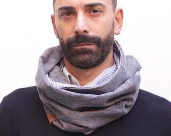 stylish scarf for men, convertible padder, infinity classic scarf, spring padder, grey padder, elegant neck warmer, suit scarf