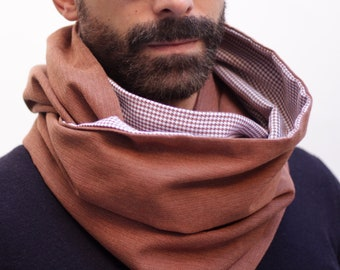 stylish scarf for men, convertible padder, infinity classic scarf, reversible cowl, brown padder, elegant neck warmer, suit scarf