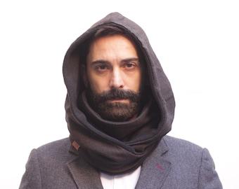 man hooded collar, man scarf, infinity scarf, chunky scarf, men neck warmer, mans gift ideas, fleece scarf, dark scarf, accessory men