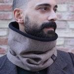 man scarf, infinity scarf, chunky scarf, men neck warmer, man cowl, mans gift, fleece scarf, brown scarf, accessory men