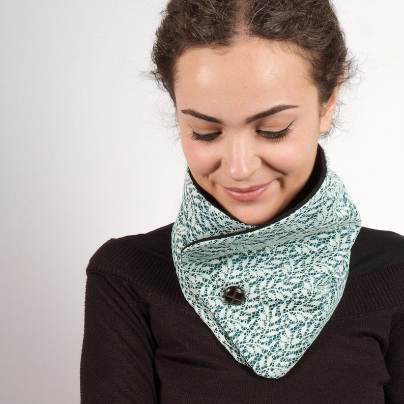 Blue cowl with one button women scarf with lace infinity image 0