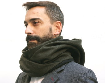 man hooded collar, man scarf, infinity scarf, chunky scarf, men neck warmer, mans gift ideas, fleece scarf, green scarf, accessory men