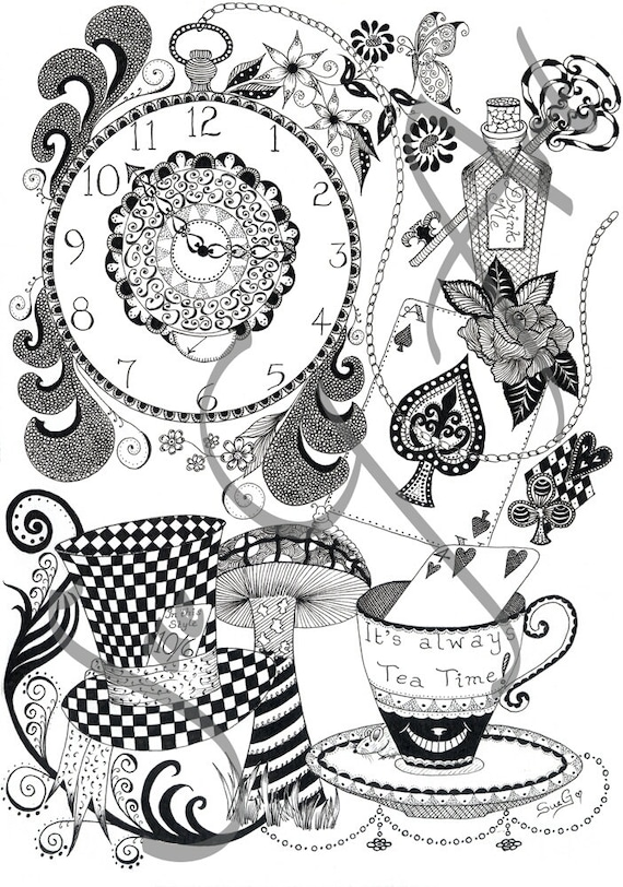 Wonderland Alice In Wonderland Black White Zentangle Ink Etsy