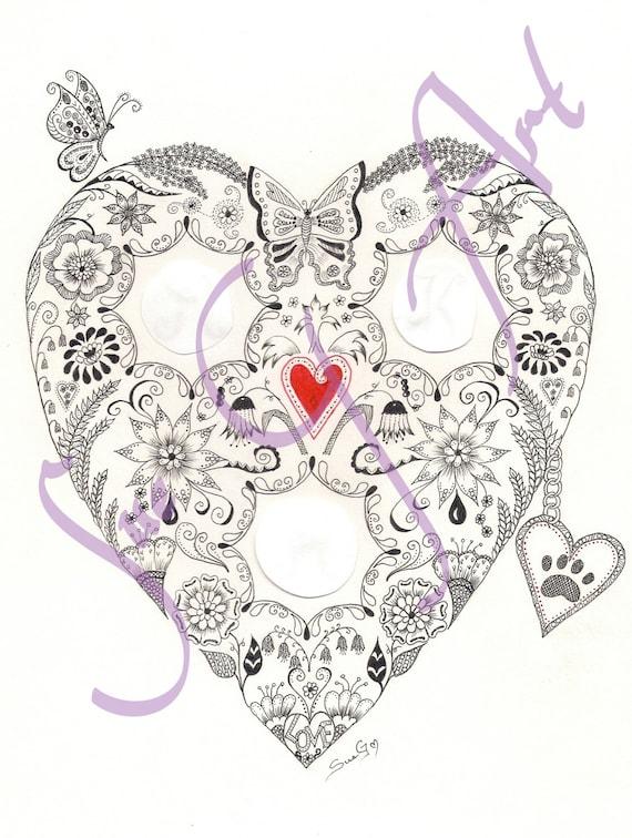 Love Heart Personalised Wedding Anniversary Zentangle Art Print