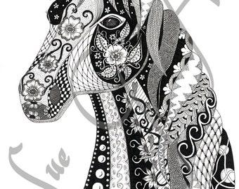 Henrietta Horse Zentangle Art Print