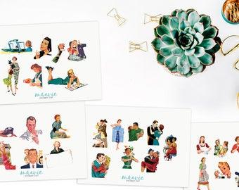 Retro women men sticker set, 4 sheets