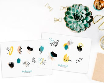 Colorful brush strokes and drawings, transparent stickers