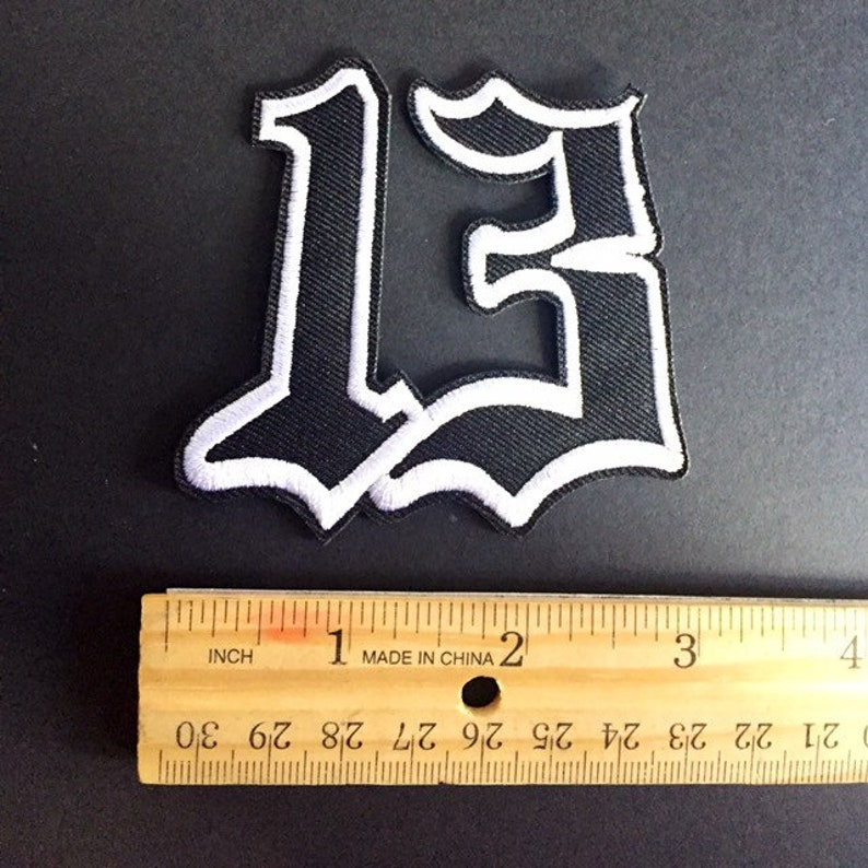 Number #13 Unlucky Iron on Sew On Embroidered Patch Appliqué (2 75