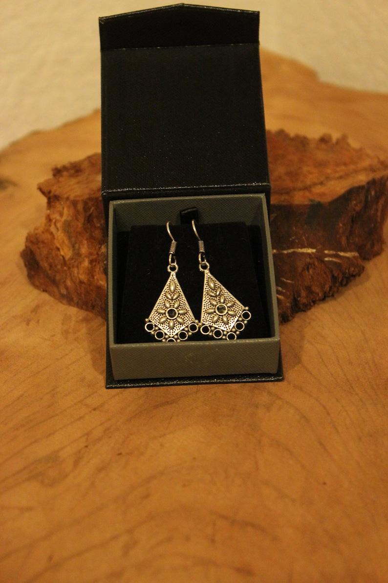 Silver Dangle Earrings, Oxidized Floral Silver Earrings Silver Crafted Dangle earrings