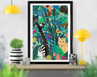 Jungle Wall Art Etsy