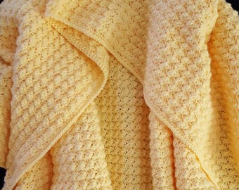 Snuggly Yellow Baby Blanket, Crochet Baby Throw, Lightweight Baby Blanket