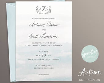 Monogram + Invitation Suite, Wedding Logo Ombre Invitation Suite, Customize your color! Autumn Collection