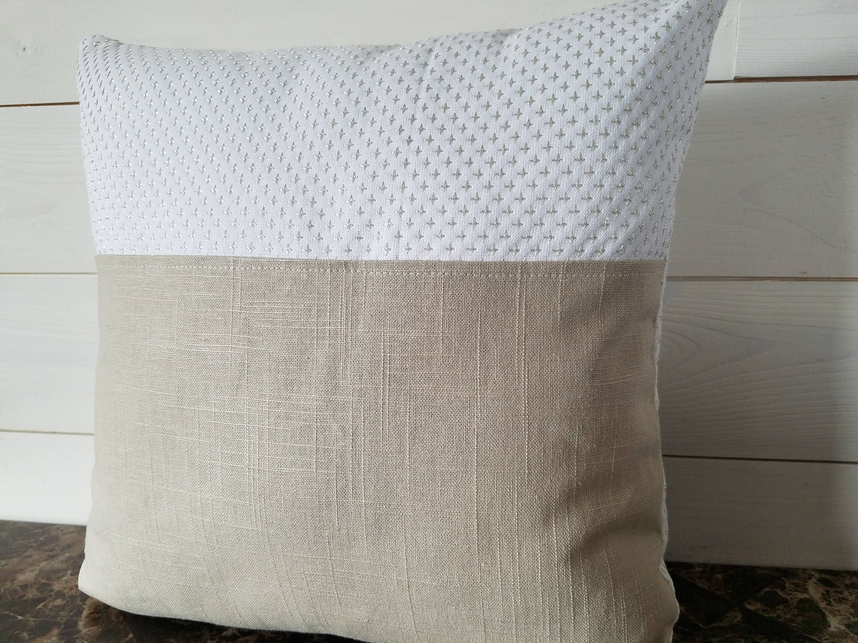 Linen Pillow Cover White Cotton Fabric With Silver