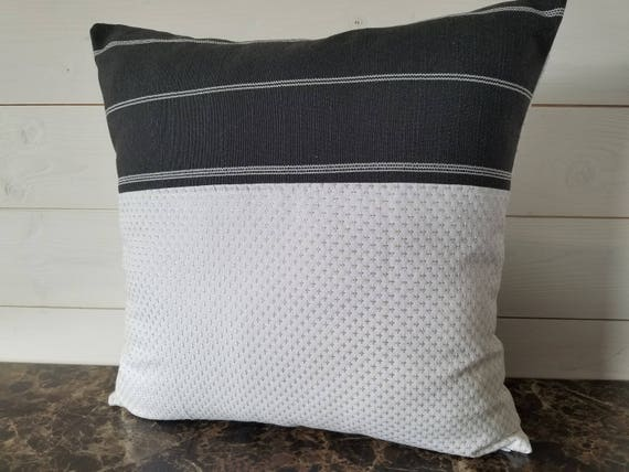 Linen Throw Pillow White Cotton Fabric With Silver