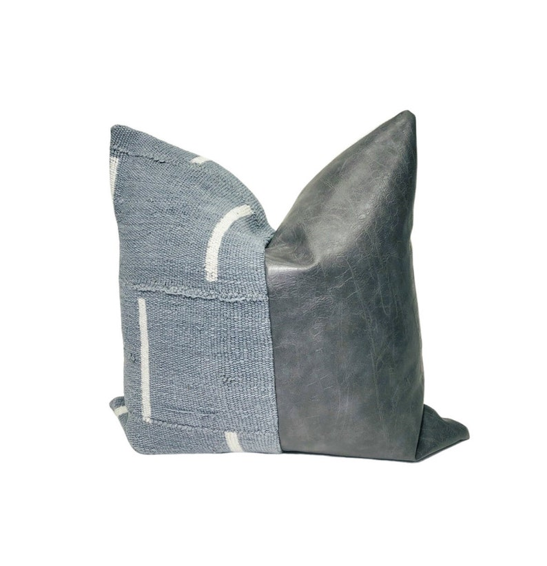 Throw Pillow Throw Pillow Cover Modern Pillow Accent Pillow Grey Faux Leather Decorative Pillow Grey Mudcloth Off White Dash