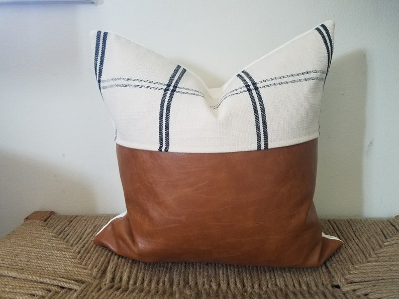 Faux Leather Pillow cover with Cream and Black Plaid Fabric Decorative  Pillow Cover, Accent Pillow, Bedroom Decor, Sofa Pillows 14x14
