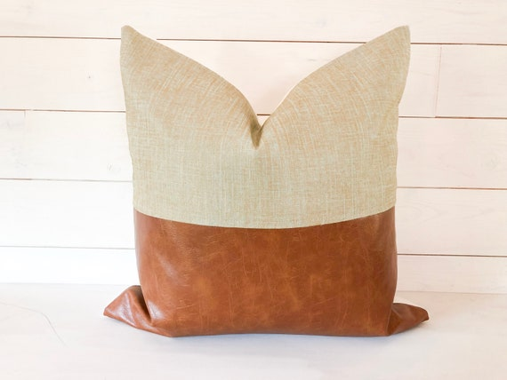 Egg Chair Cognac.Cognac Faux Leather Pillow Cover Robin Egg Blue With Gold Etsy
