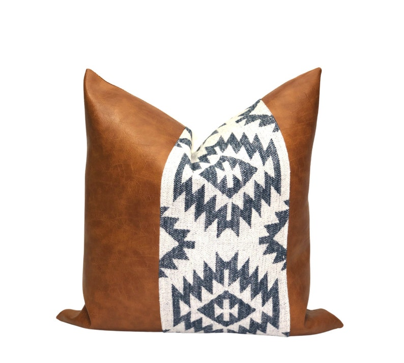 Boho Pillow Cover Decorative Pillow Cover Modern Pillow Cover Boho Blue Print Pillow Cover Throw Pillow Cover Cognac Faux Leather