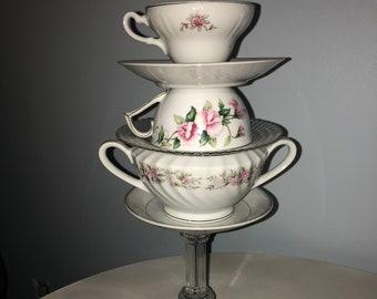 Teacup Sculpture and Votive Candle Holder