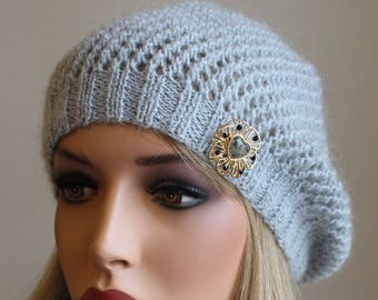 Knitted Cashmere Slouchy Hat with Brooch