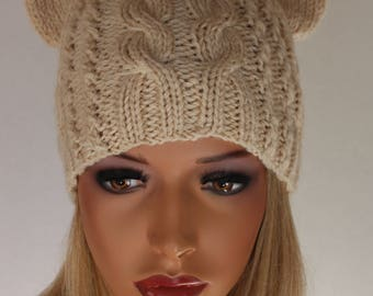 Knitted Cream Hat with Cat Ears