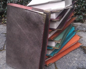 leather book cover with steel corners