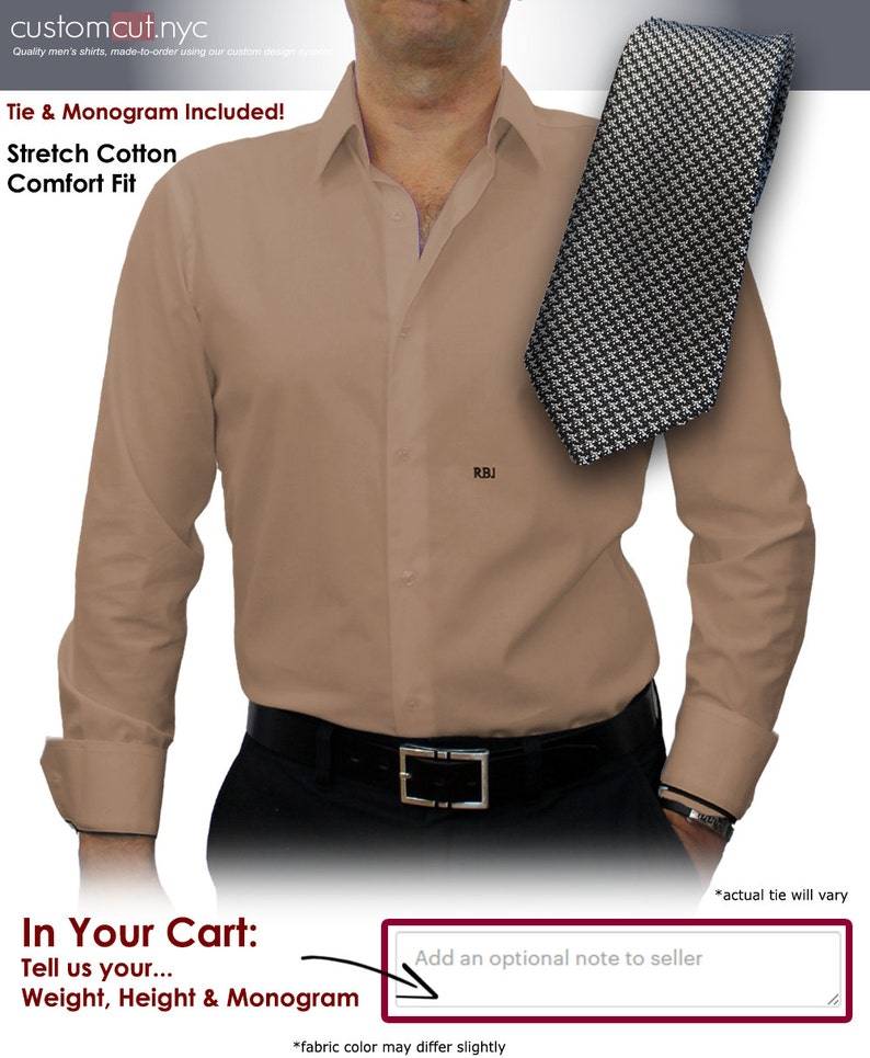 Khaki Solid #cc40 Men/'s Custom Dress Shirt Tie Set Just..Give..Us..Your..WEIGHT..and..HEIGHT!!
