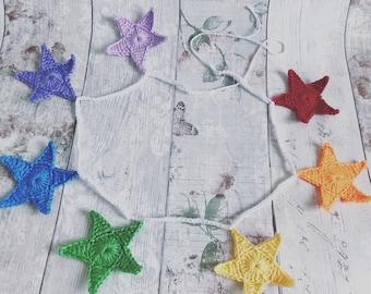 Crochet Rainbow Star Garland/Bunting