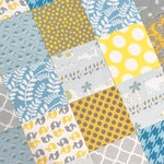 """SALE!! 100 - 5"""" Charm Pack of flannels & cotton for Gender Neutral Baby Quilt Top Light Blue Gray Yellow Safari Animals Birds Floral"""