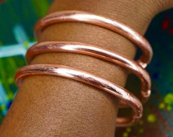 Solid Copper Bangles   Set of Nine Hammered Handmade Copper Bangles  Multiple Bangles